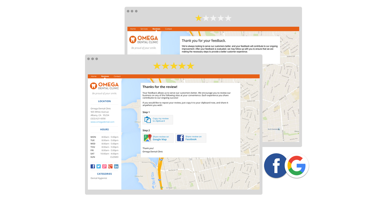 Review Options Page of Customer Voice
