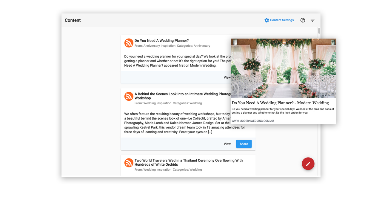 Content Screen for Social Marketing