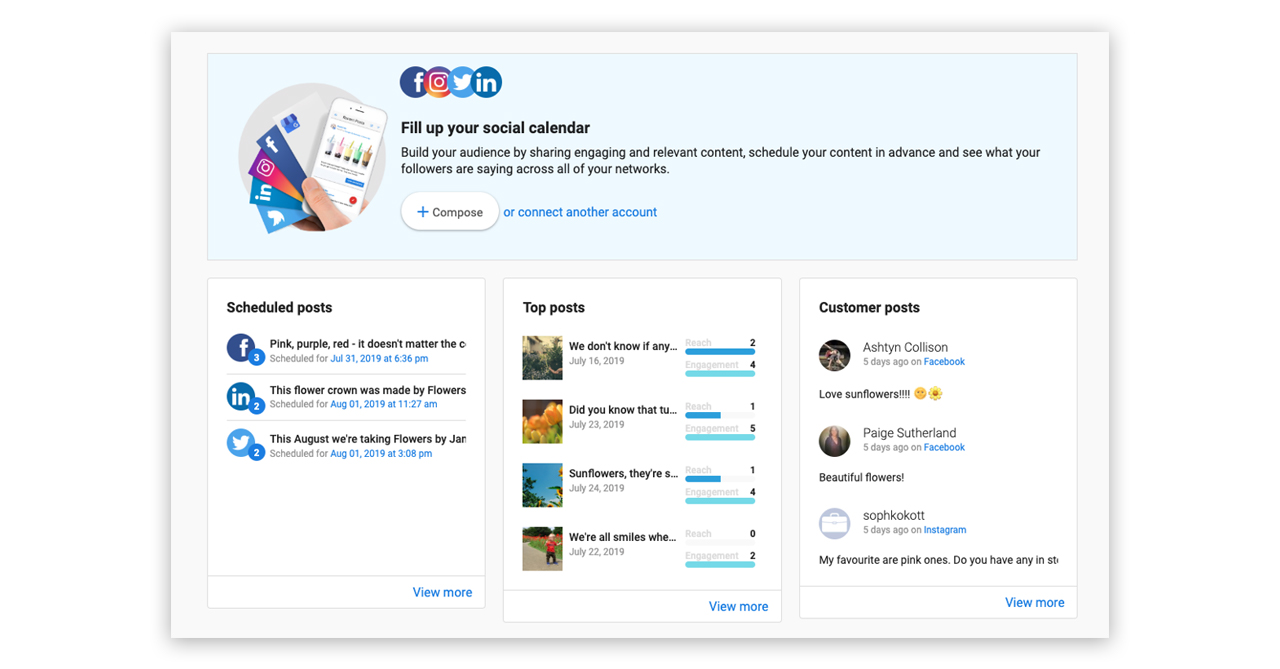 Overview Screen for Social Marketing